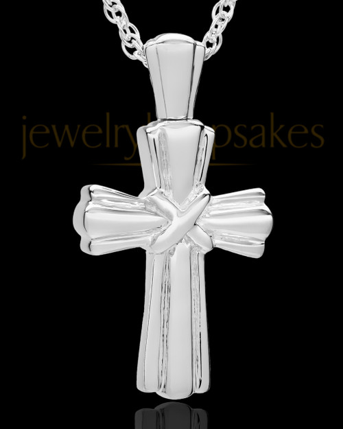 Cremation Ash Jewelry Antique 14K White Gold Wrapped Cross