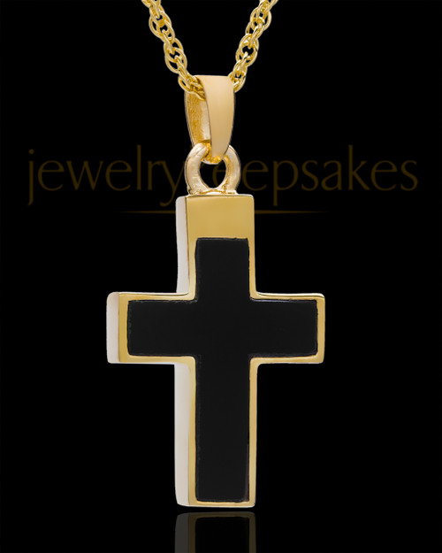 Cremation Necklace Cross with Onyx-Solid 14K Gold