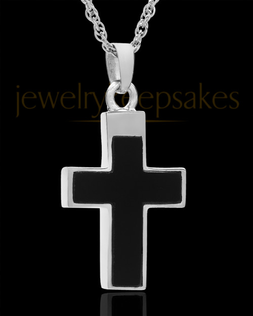 Cremation Necklace Cross with Onyx-Solid 14K White Gold