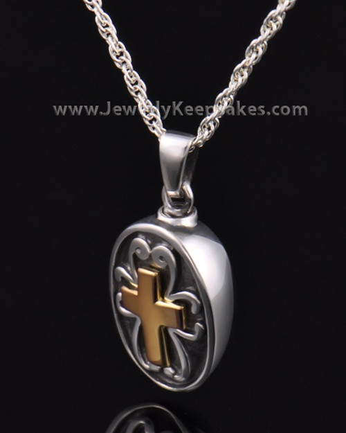 Cremains Locket Cross with Oval in Sterling Silver