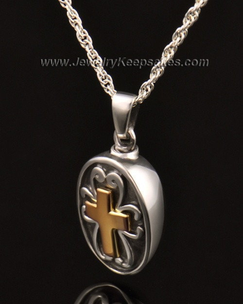 Cremains Locket Cross with Oval in 14k White Gold