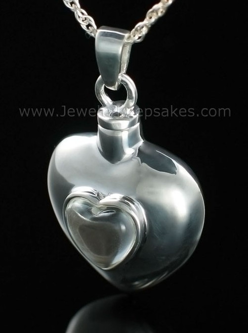 Ash Pendant Glass Heart within Sterling Silver Heart