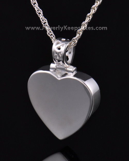Memorial Pendant Grand Heart Keepsake in Sterling Silver