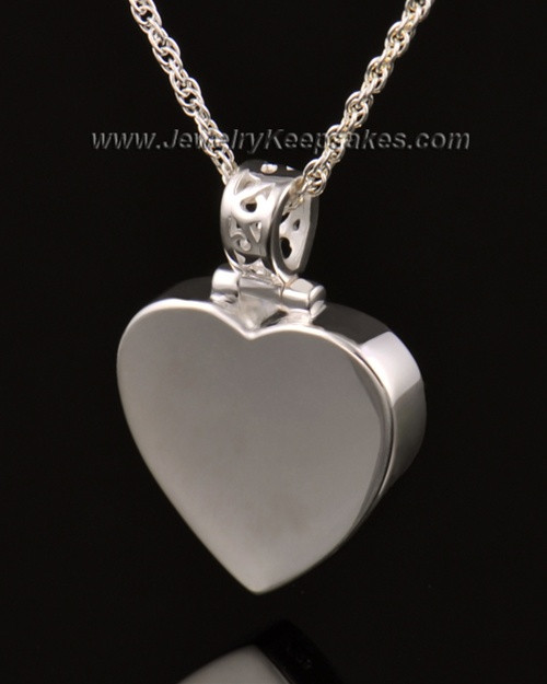 Memorial Pendant Grand Heart Keepsake-14K White Gold