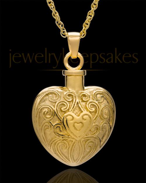 Memorial Pendant 14K Gold Love Filigree Heart