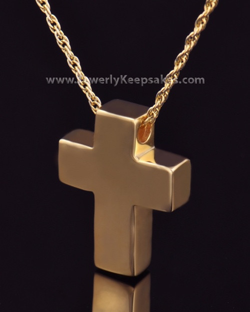 Remembrance Pendant 14K Gold Plated Slider Cross