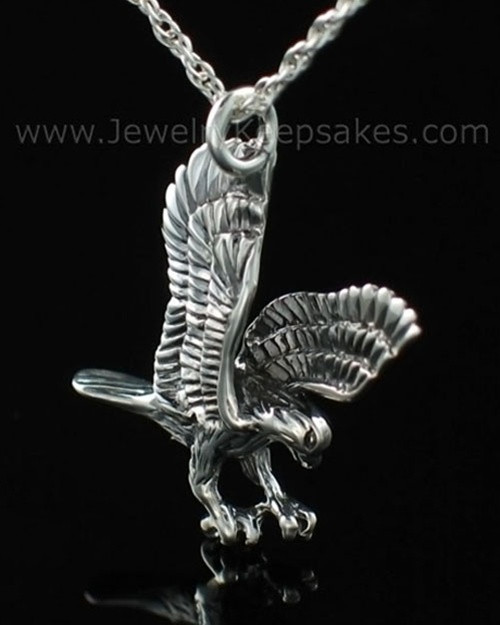 Ash Urn Locket Sterling Silver Diving Eagle
