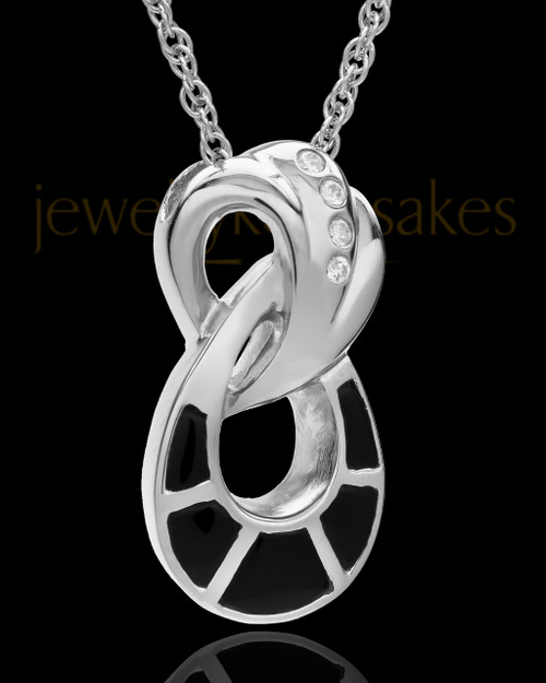 Cremation Necklace Sterling Silver and Onyx Infinity