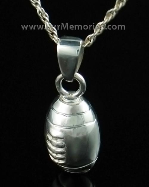 Memorial Urn Jewelry Sterling Silver Football Keepsake