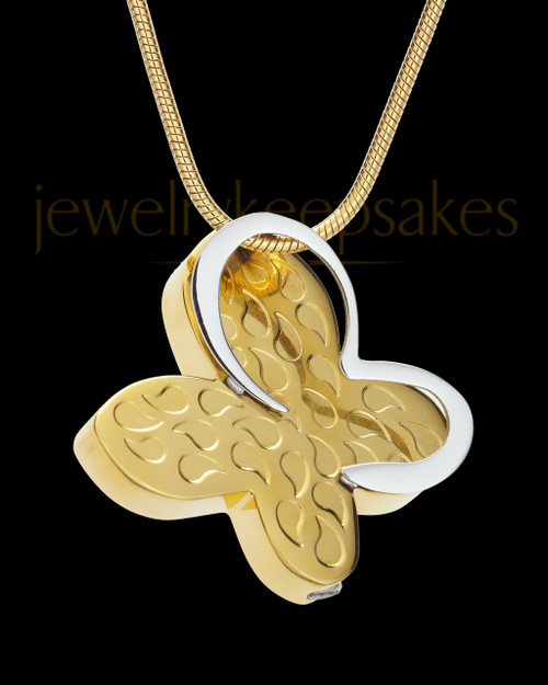 Jazzy Gold Stainless Butterfly Cremation Keepsake