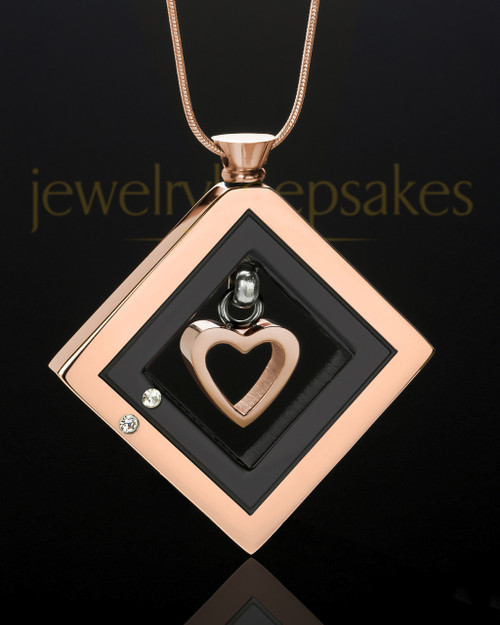 Rose Gold and Black Stainless Splendid Memories Cremation Keepsake