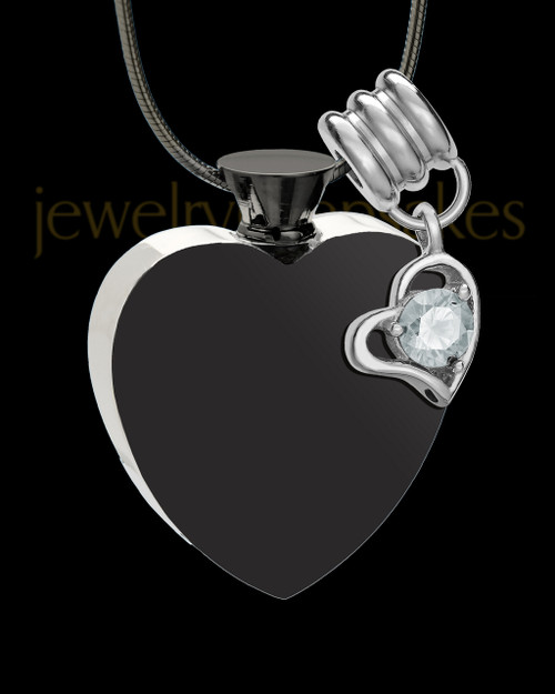 Stainless Steel April Enamored Heart Cremation Keepsake
