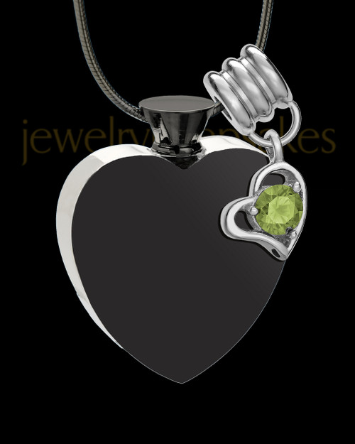 Black and Stainless Steel August Enamored Heart Cremation Keepsake