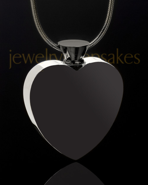 Stainless and Black Enamored Heart Urn Charm