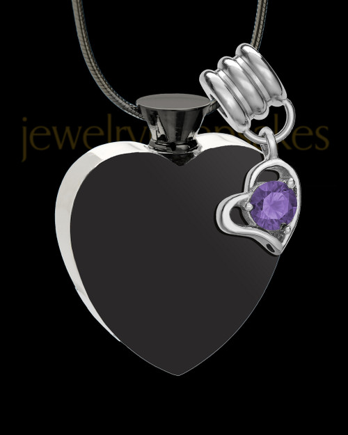Black and Stainless Steel February Enamored Heart Cremation Keepsake
