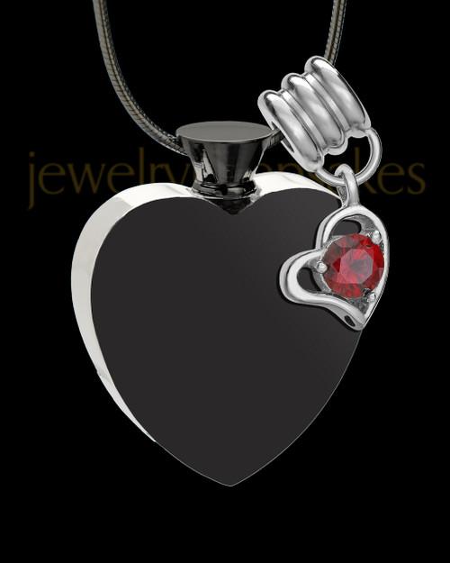 Black and Stainless Steel January Enamored Heart Cremation Keepsake