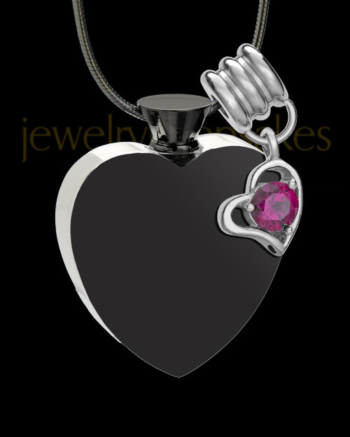 Stainless Steel July Enamored Heart Cremation Keepsake