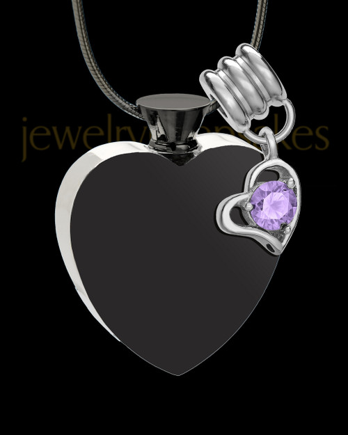 Black and Stainless Steel June Enamored Heart Cremation Keepsake