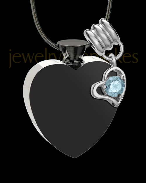 Black and Stainless Steel March Enamored Heart Cremation Keepsake