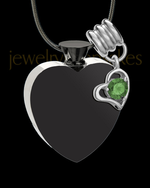 Black and Stainless Steel May Enamored Heart Cremation Keepsake