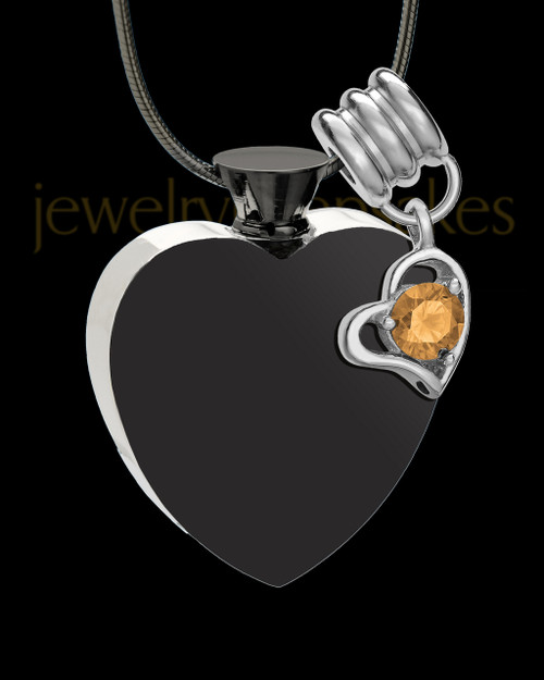 Black and Stainless Steel November Enamored Heart Cremation Keepsake