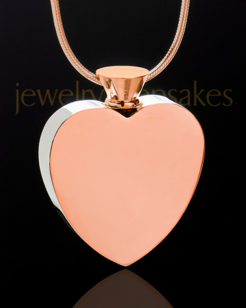Enamored Heart Jewelry Urn in Rose Gold and Stainless