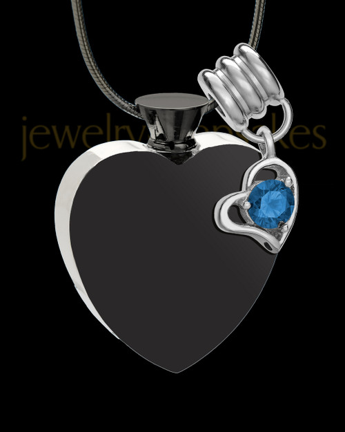 Black and Stainless Steel September Enamored Heart Cremation Keepsake
