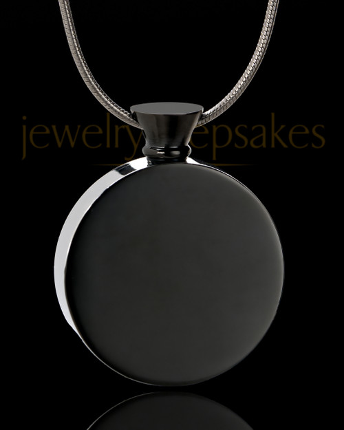 Black Abounding Circle Stainless Steel Cremation Keepsake