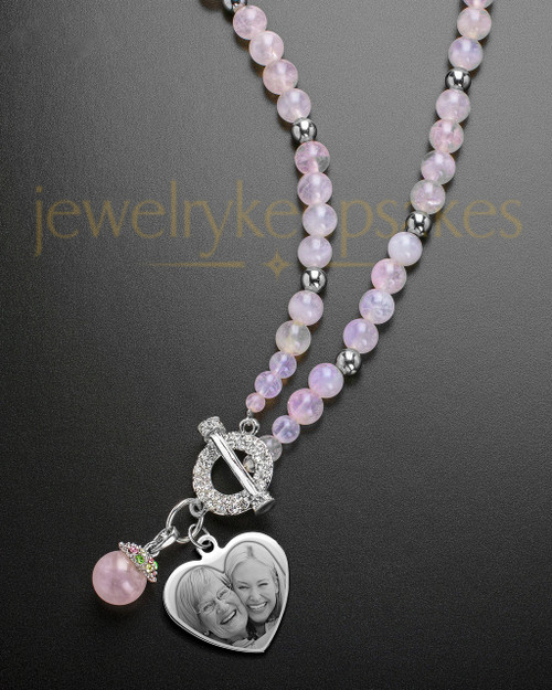 Carmella Heart and Pink Bead Necklace