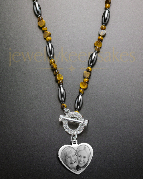 Eva Earth Tone Bead and Heart Engraved Necklace