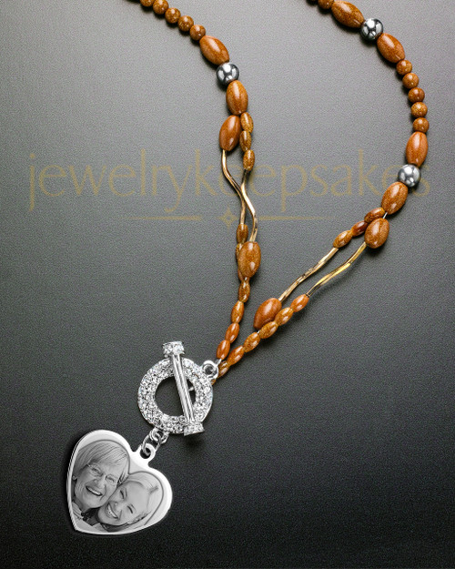 Luna Necklace with Orange Beads and Picture Heart