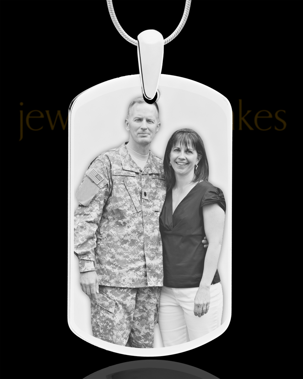c287555f0a71 Elegant Photo Engraved Silver Plated Dog Tag For Remembrance