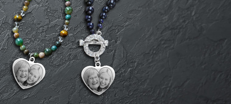 Beaded Personalized Photo Necklaces