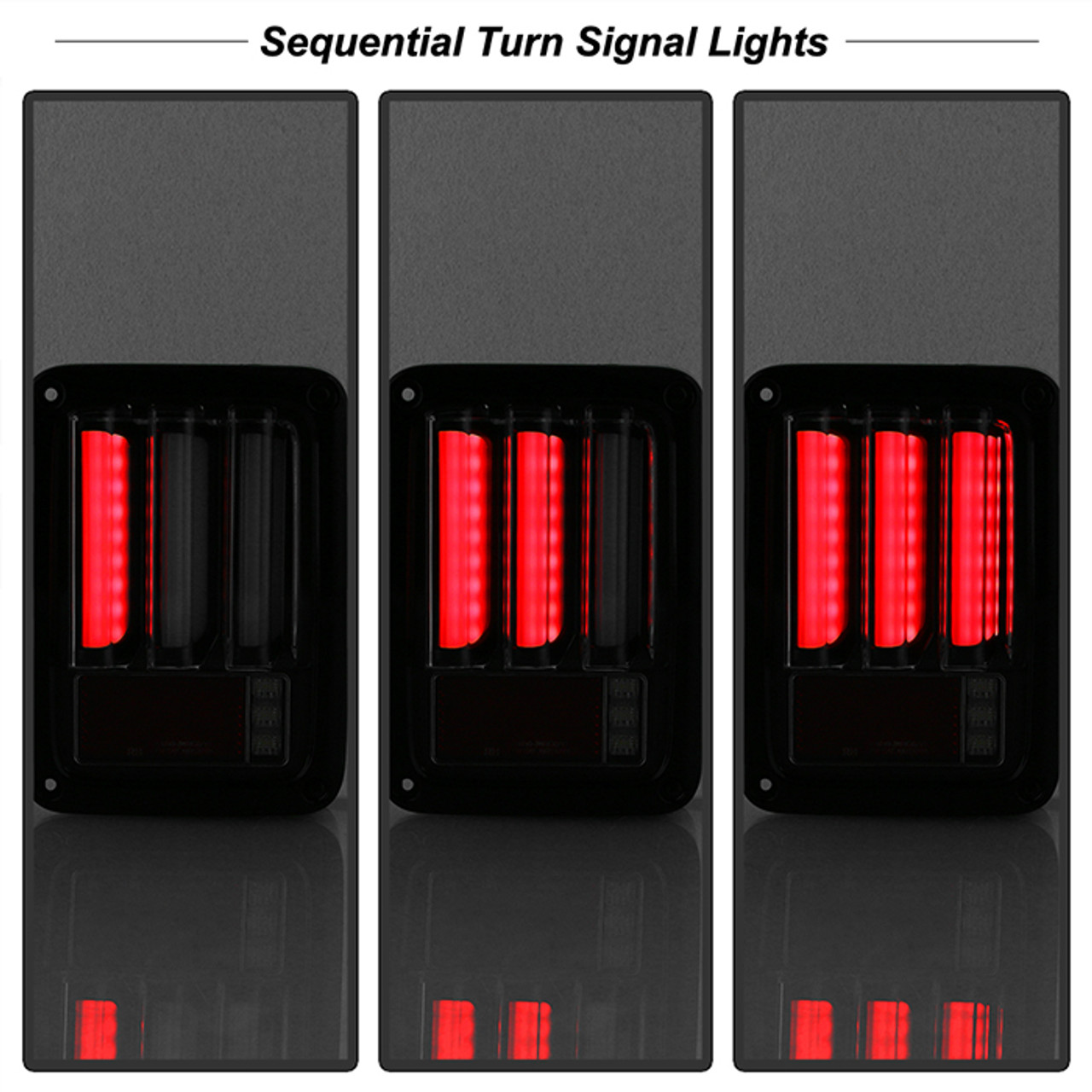 Jeep Wrangler (JK JKU) 07-18 Light Bar Sequential Turn Signal LED Tail Lights - Black.