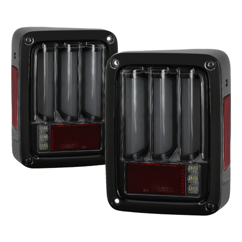 Jeep Wrangler (JK JKU) 07-18 Light Bar Sequential Turn Signal LED Tail Lights - Smoked Black