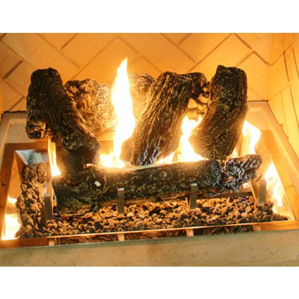 Log set for fireplaces w/CF-1224 burner. Includes logs, lava rock and grate CF-1224 LOG SET