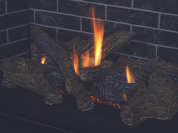 "DRT2045DEP-C 45"" DIRECT VENT FIREPLACE, ELECTRONIC IGNITION, AGED OAK LOGS ,TOP/REAR VENT, PROPANE"