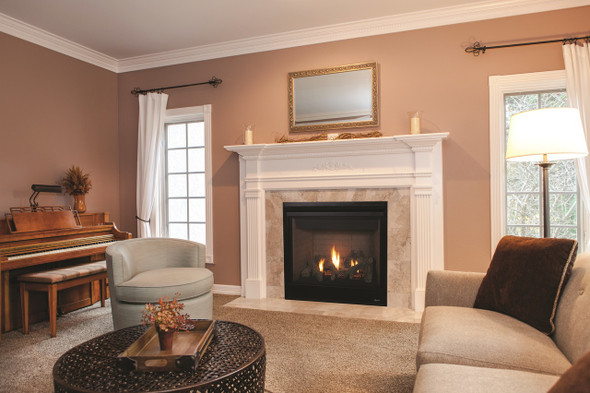 """DRT3035DEN-C 35"""" DIRECT VENT FIREPLACE, ELECTRONIC IGNITION, AGED OAK LOGS , TOP/REAR NATURAL GAS"""