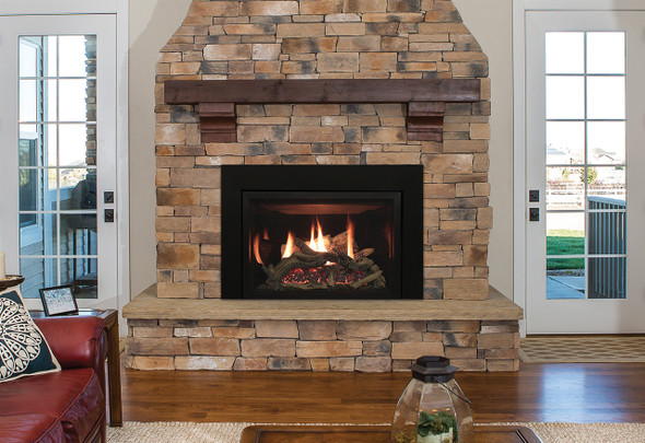 Rushmore Direct-Vent Fireplace Insert with Driftwood Log Set