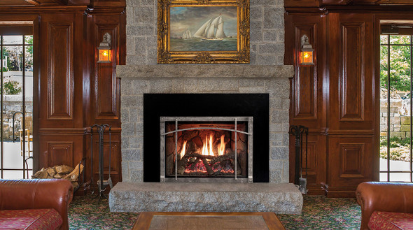 Rushmore Direct-Vent Fireplace Insert with Traditional Charred Log Set and Forged Iron Front with Arch Insert