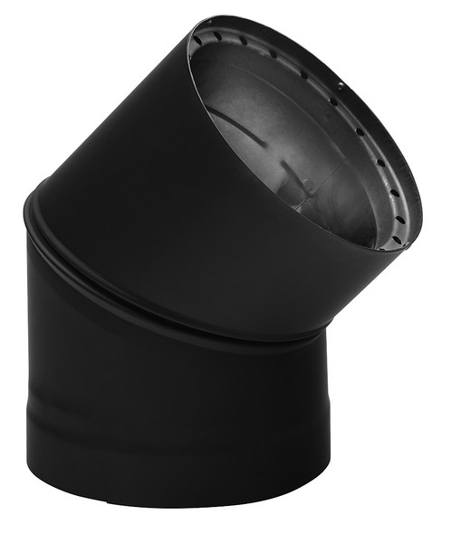 "DOUBLE WALL BLACK 6"" X 45 DEG ELBOW  6DWB45"