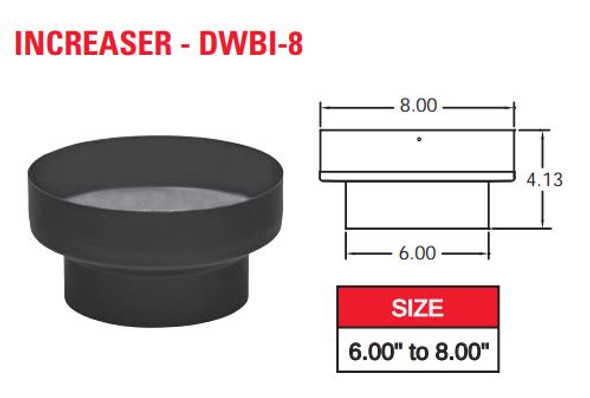 "DOUBLE WALL BLACK 6"" X 8"" INCREASER  6DWBI-8"