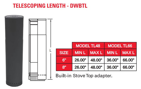 "DOUBLE WALL BLACK 6"" X 48"" TELESCOPING LENGTH  6DWBTL48"