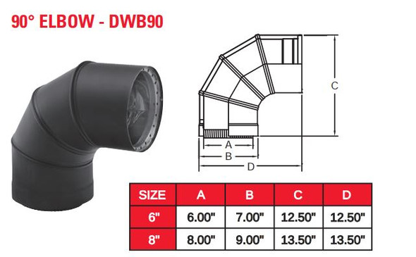 "DOUBLE WALL BLACK 8"" X 90 DEG ELBOW  8DWB90"