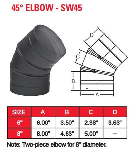 "SINGLE WALL BLACK 8"" X 45 DEG ELBOW  8SW45"