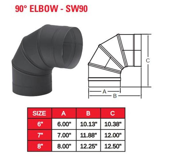 "SINGLE WALL BLACK 8"" X 90 DEG ELBOW  8SW90"