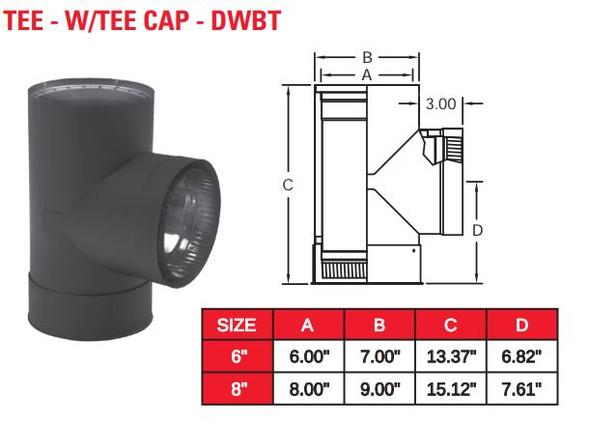 """DOUBLE WALL BLACK 8"""" TEE W/TEE CAP  8DWBT"""