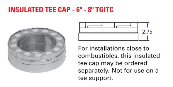 "TEMP GUARD 2100 DEG 6"" INSULATED TEE CAP  6TGITC"