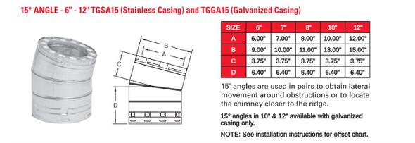 """TEMP GUARD 2100 DEG GALV 8"""" X 15 DEG ANGLE 8TGGA15"""