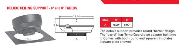 "TEMP GUARD 2100 DEG GALV 6"" DELUXE SUPPORT  6TGDLXS"